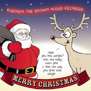 CAN6  Merry Christmas Card Brown Nosed Reindeer